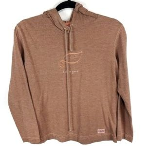 Life is Good burnt orange leaf hoodie womens s